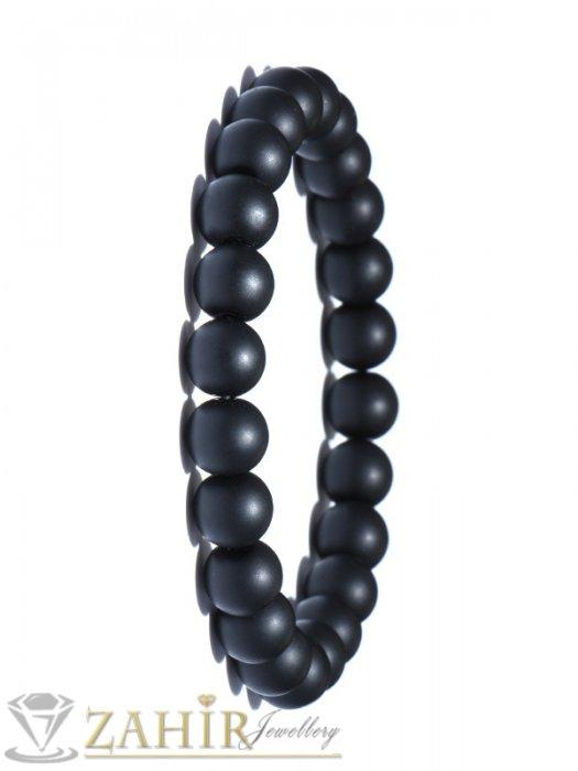 Изчистена черна гривна от естествен оникс мат 8 мм, налична в 5 размера - MA1100