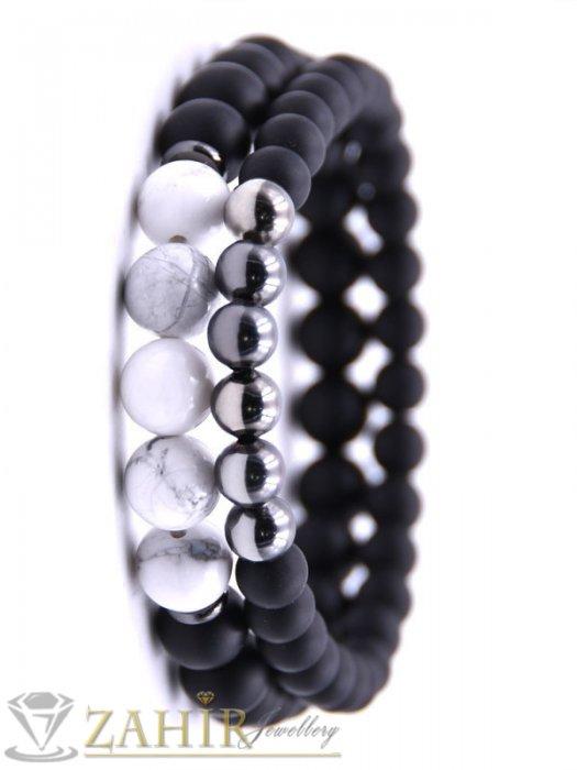 Двойна гривна от черен оникс 8 и 10 мм бял ахат 10 мм и хематит 8 мм, налична в 5 размера - MA1103
