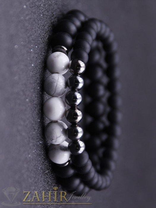 Бижута за мъже - Двойна гривна от черен оникс 8 и 10 мм бял ахат 10 мм и хематит 8 мм, налична в 5 размера - MA1103