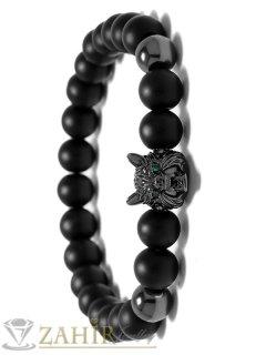 Великолепна гривна с черна глава на вълк и черен оникс 8 мм, налична в 5 размера - MA1109