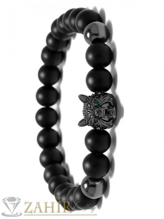 Великолепна гривна с черна глава на вълк и черен оникс 10 мм, налична в 5 размера - MA1109