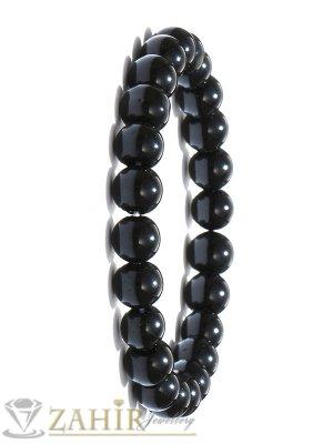 Класическа ластична гривна от лъскав черен ахат 8 мм, налична в 5 размера - MA1111