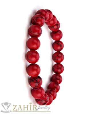 Класическа ластична гривна от червен хаулит 10 мм, налична в 5 размера - MA1113