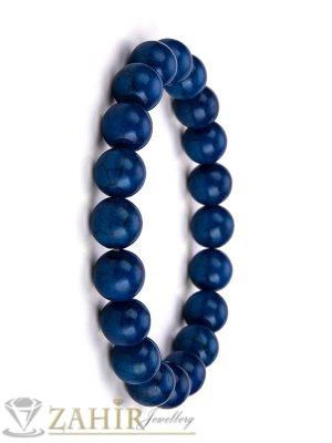 Класическа ластична гривна от син ахат 8 мм, налична в 5 размера - MA1115
