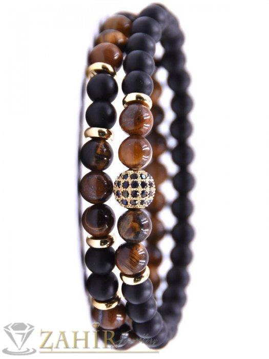 Двойна гривна от черен оникс мат и кафяво тигрово око 8 мм, кристално топче, налична в 5 размера - MA1119