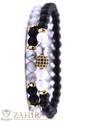 Двойна гривна от черен оникс мат и бял хаулит 8 мм, кристално топче, налична в 5 размера - MA1120