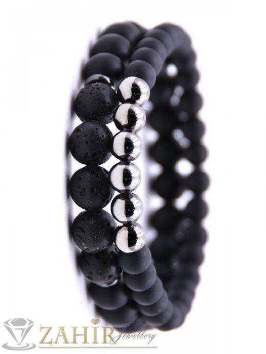 Двойна гривна от черен оникс 8мм, лава камък 8мм и хематит 8 мм, 5 размера - MA1123