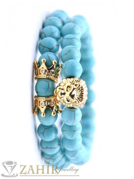 Два броя гривни от син тюркоаз 8 мм с позлатено лъвче и корони, налична в 5 размера - MA1127