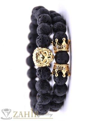 Два броя гривни от черен лава камък 8 мм с позлатено лъвче и корони, налична в 5 размера - MA1128