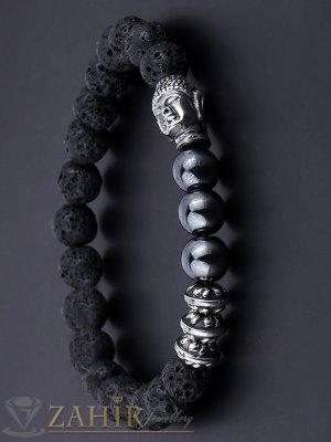Ластична гривна от черен лава камък 8 мм, хематит 8 мм и посребрена Буда, налична в 5 размера - MA1131