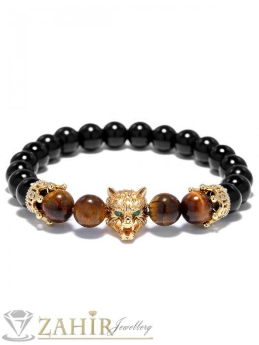 Великолепна глава на вълк и елементи с ковани кристали на черна гривна от ахат и тигрово око 10 мм - MGA1301