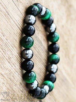 Хематит, черен лъскав ахат и зелен ахат 8 мм на ластична гривна, 7 размера - MGA1305