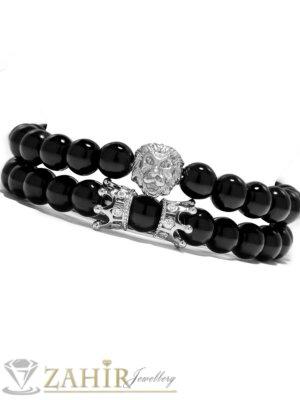 Дройна гривна от черен ахат 8 мм с лъвска глава и корони с кристали, налична в 7 размера - MGA1314