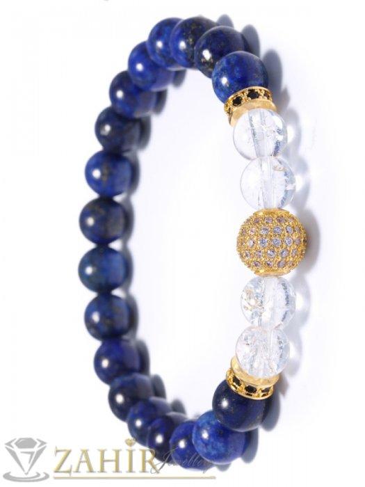 Дамски бижута - 4 цвята топче 10 мм с ковани кристали на гривна от син и прозрачен ахат 8 мм, 7 размера - MGA1317