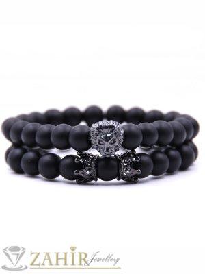 Двойна гривна с черен стоманен лъв и корони с кристали от черен оникс 8 мм, 7 размера - MGA1337