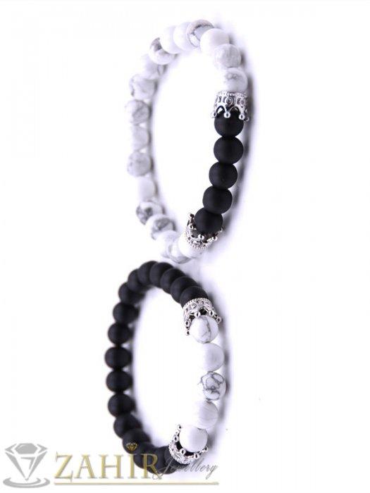 Дамски бижута - Двойна гривна от черен оникс и хаулит 8 мм с 4 сребристи корони с кристали, 7 размера - MGA1345