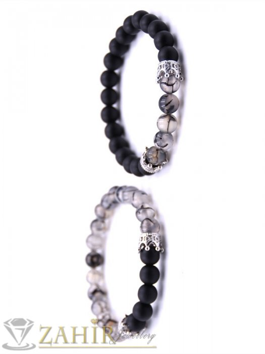 Дамски бижута - Двойна гривна от драконови вени и черен оникс 8 мм с 4 сребристи корони с кристали, 7 размера - MGA1347