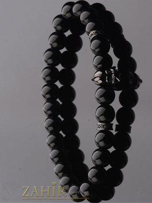 Черна ластична гривна от ахат 8 мм с маска на Дарт Вейдър , 7 размера - MGA1369