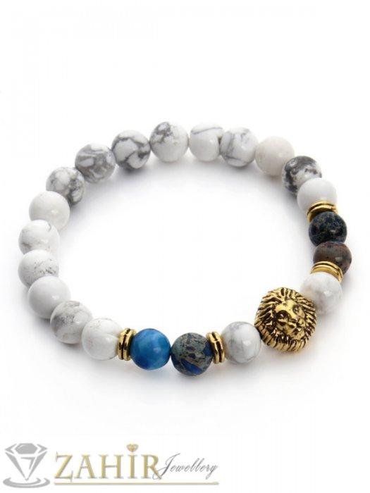 Дамски бижута - Бяла ластична гривна от хаулит и цветен ахат 8 мм с лъвска глава в златно или сребърно, 7 размера - MGA1381