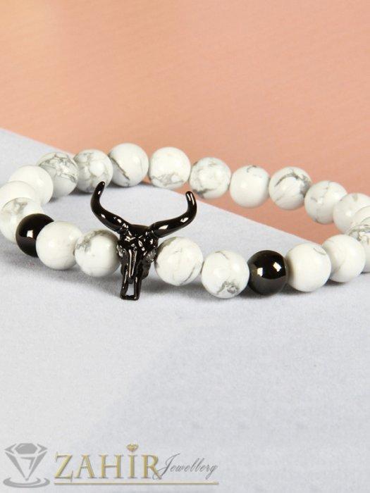 Дамски бижута - Еленови рога в златно, черно или сребърно на бяла гривна от хаулит 8 мм, 7 размера - MGA1386