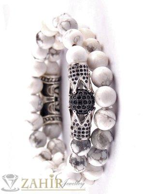 Луксозна двойна гривна от бял хаулит с елементи с ковани черни кристали, 7 размера - MGA1387