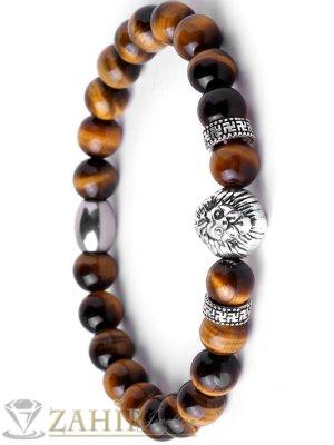 Ластична гривна от тигрово око  8 мм с метална лъвска глава и сребристи елементи , 7 размера - MGA1393