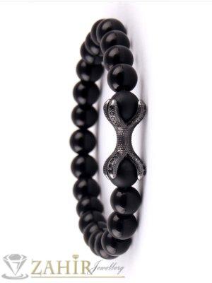 Двоен елемент с черни ковани кристали на черна ониксова гривна 8 мм налична в 7 размера - MGA1421
