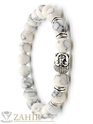 Сребриста Буда и елементи на бяла гривна от хаулит 8 мм, налична 7 размера - MGA1425