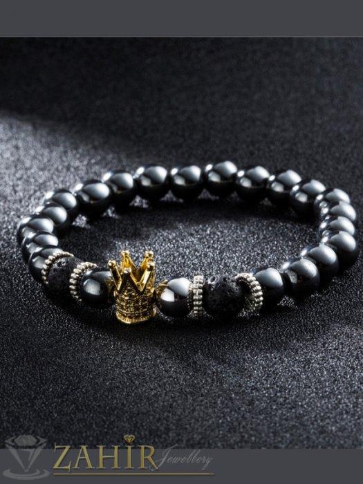 Черна гривна от стоманен хематит 8 мм с елемент позлатена корона с черни ковани кристали, 7 размера - MGA1428