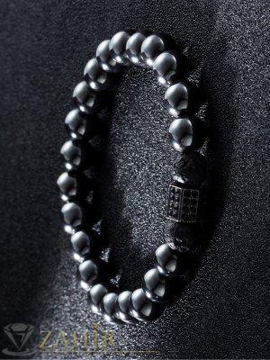Черна гривна от стоманен хематит 8 мм с черен елемент с черни ковани кристали, 7 размера - MGA1429