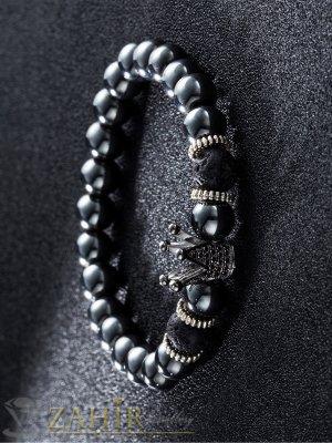 Черна гривна от стоманен хематит 8 мм с елемент сребриста корона с черни ковани кристали, 7 размера - MGA1430