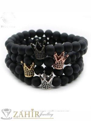 3 цвята корона с ковани черни кристали на черна гривна от оникс 8 мм, 7 размера - MGA1442