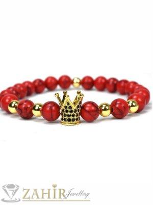 4 цвята корона с ковани черни кристали на червена гривна от хаулит 10 мм, 7 размера - MGA1443