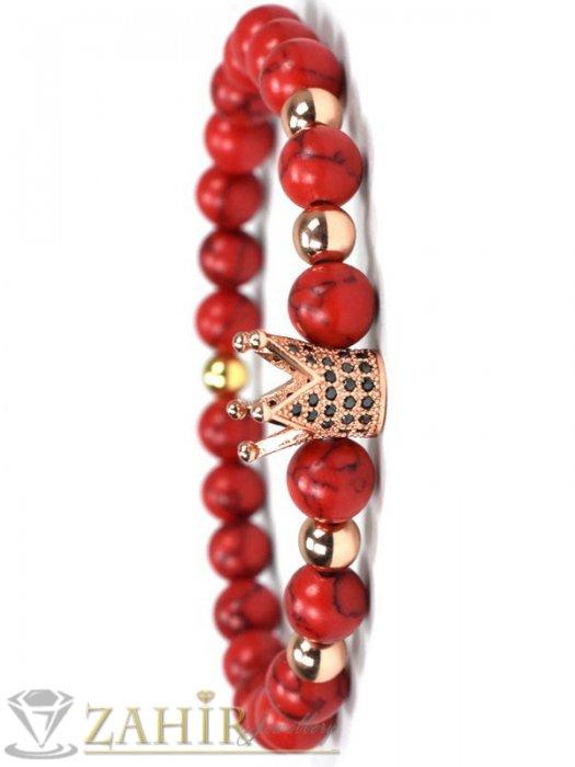 Дамски бижута - 4 цвята корона с ковани черни кристали на червена гривна от хаулит 10 мм, 7 размера - MGA1443