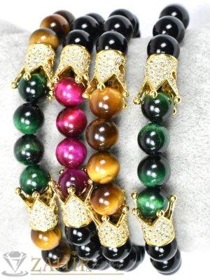Позлатена корона с ковани бели кристали на ластична гривна в 3 цвята, 7 размера - MGA1444