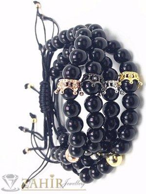 Ръчно плетена черна гривна от ахат с корона в 4 цвята с кристали, регулираща се - MGA1445