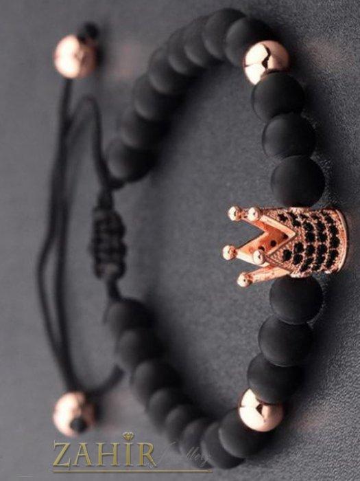 Дамски бижута - 4 цвята корона с ковани черни кристали на черна гривна от оникс 8 мм, регулираща се - MGA1446