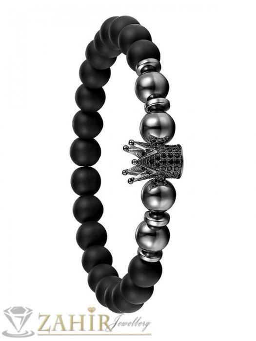 Дамски бижута - Ластична гривна от оникс и хематит 8 мм с корона 4 цвята с черни кристали, 7 размера - MGA1447