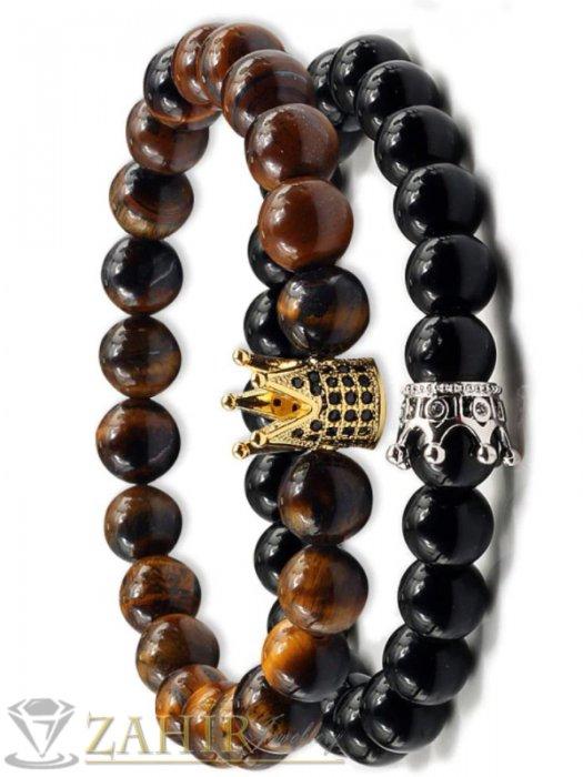Двойна гривна от котешко око и 3 модела черни камъни с корони, 7 размера - MGA1448