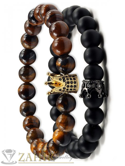 Дамски бижута - Двойна гривна от котешко око и 3 модела черни камъни с корони, 7 размера - MGA1448