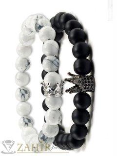 Двойна гривна от бял хаулит и 2 модела черни камъни с корони, 7 размера - MGA1449