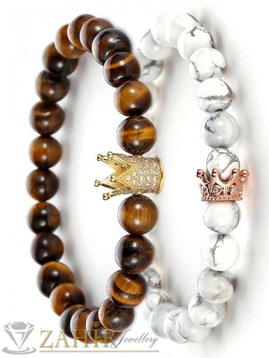 Дамски бижута - Двойна гривна с контрастни камъни 8 мм с корони с кристали, 7 размера - MGA1452