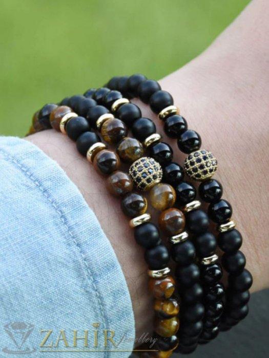 Дамски бижута - Двойна гривна от черен ахат или кафяво тигрово око 8 мм с топче с кристали, 7 размера - MGA1456