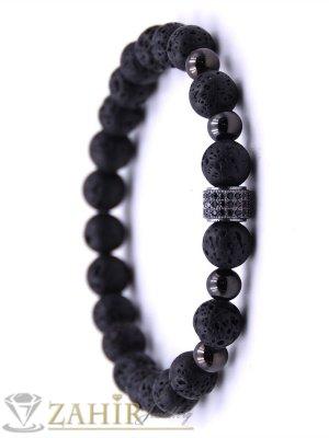 Ластична гривна от лава камъни 8 мм с черен елемент с кристали, 7 размера - MGA1460