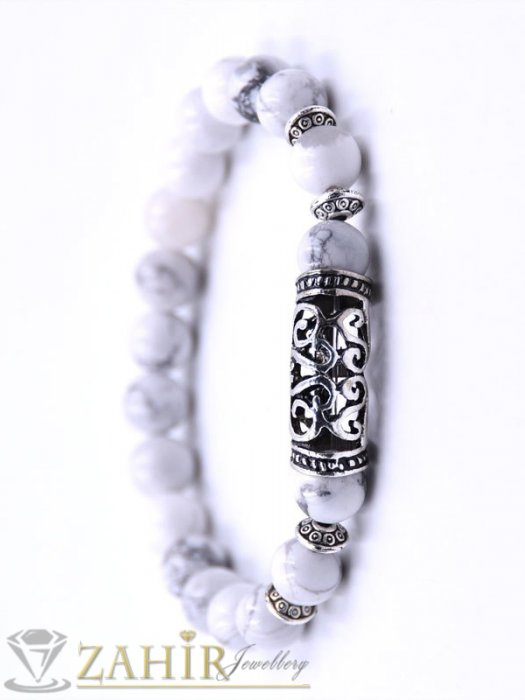 Дамски бижута - 5 модела гривни от ест. камъни с гравиран метален детайл, 7 размера - MGA1461