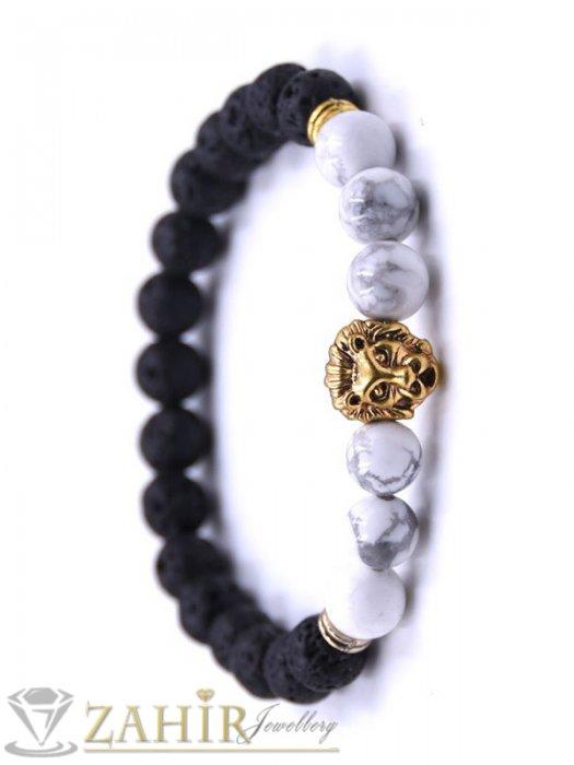 Дамски бижута - 4 модела гривни от ест. камъни с позлатено лъвче, 7 размера - MGA1462