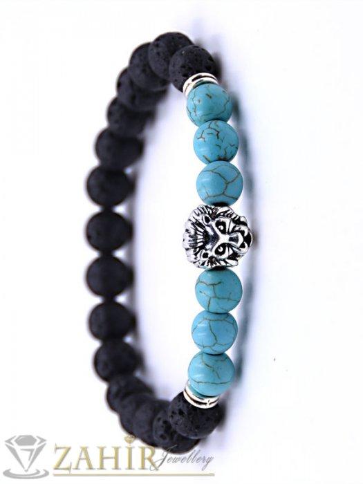Дамски бижута - 4 модела гривни от ест. камъни със сребристо лъвче, 7 размера - MGA1463
