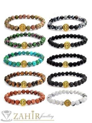Различни цветове ест. камъни на гривна с позлатена лъвска глава, 7 размера - MGA1467