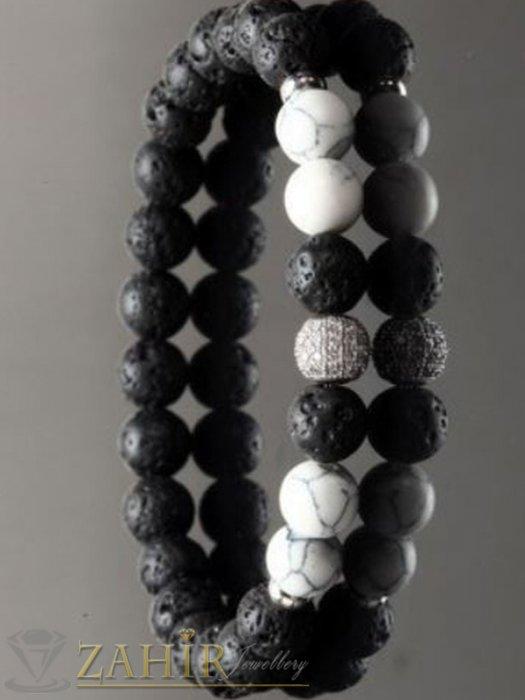 Дамски бижута - 4 модела кристално топче 8 мм на гривна от черни лава камъни и бял хаулит, 7 размера - MGA1471