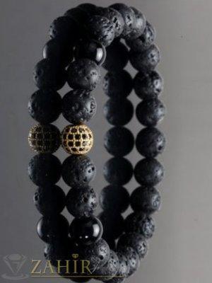 2 модела кристално топче 8 мм на гривна от черни лава камъни и оникс мат, 7 размера - MGA1472
